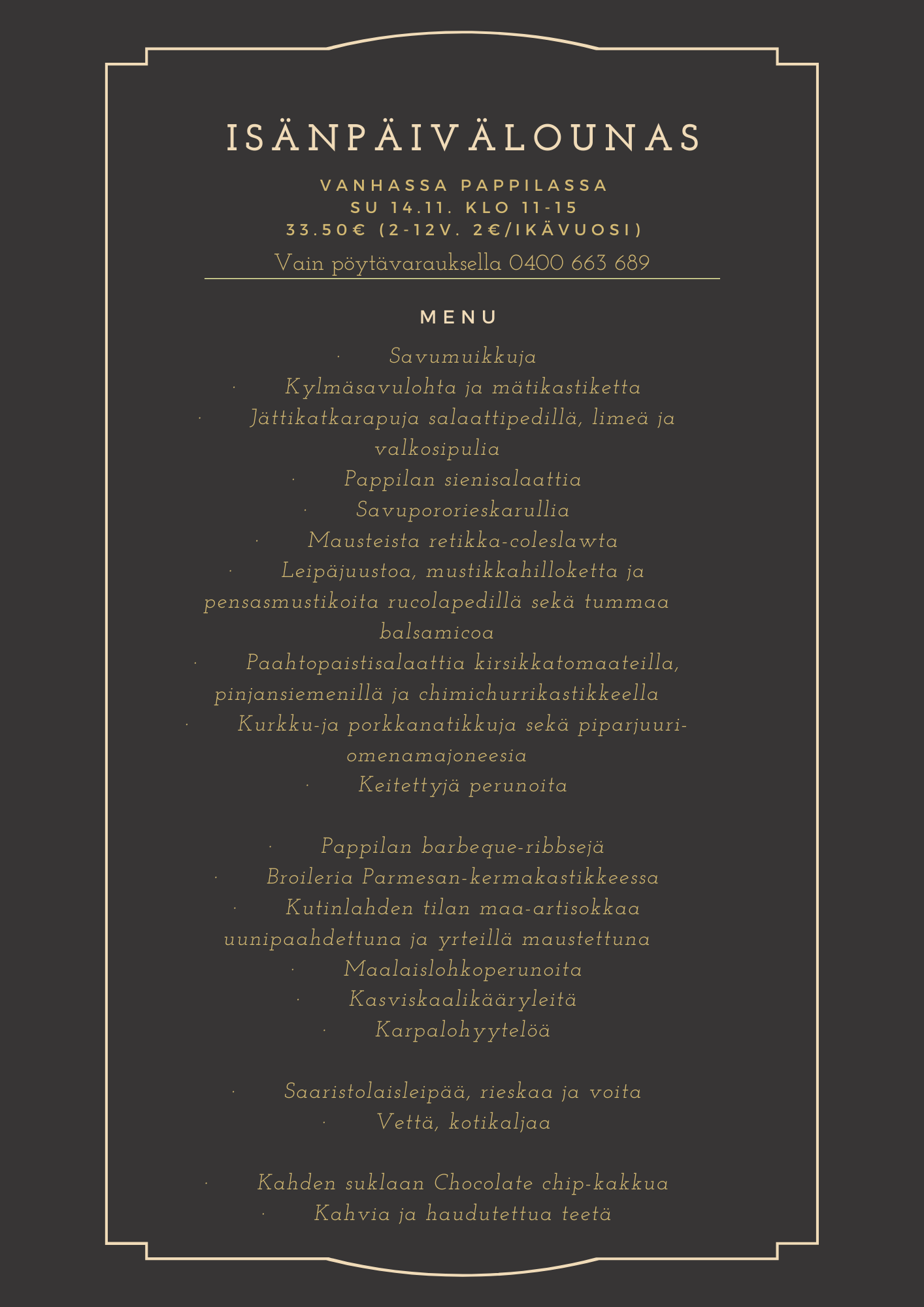 Black and Gold Fancy Bordered Valentines Day Food and Drink Menu (210 x 297 mm) (1)